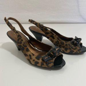 ❤️ 3/20 Naturalizer Cheetah Peep Toe Sling Back 7